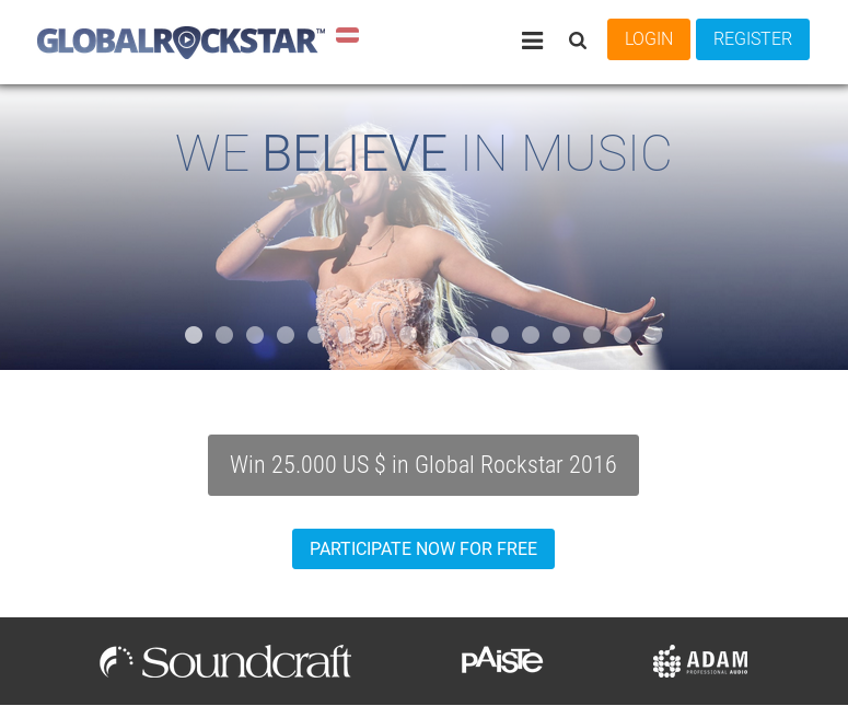 screenshot of globalrockstar website
